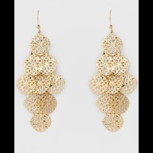Cascading Gold Plating Finish Drop Earrings